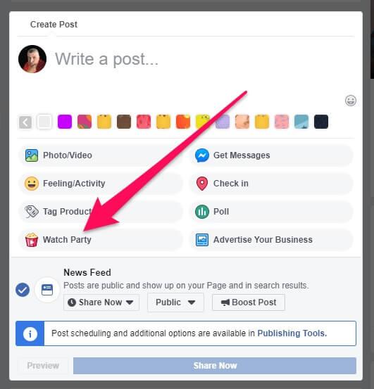 איך פותחים מסיבת צפייה בפייסבוק - מדריך #2